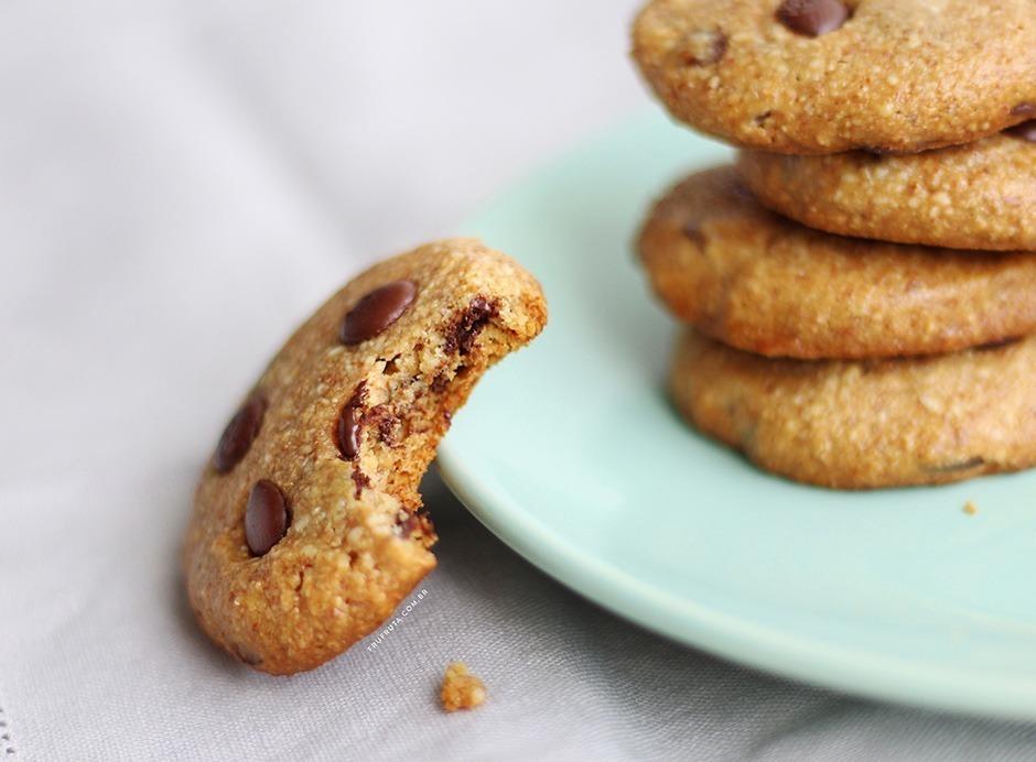 Cookies de Amêndoas, mel e gotas de chocolate. Só 5 ingredientes! Sem Glúten, Sem Leite e Sem ovos